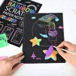 40 feuilles papier à gratter pour les enfants Rainbow Scratch Art papier papiers de peinture Magic Scratch conseils avec fond Scratch Art feuilles 19 * 26cm + 10 bois Stylus Sticks + 4 pochoirs avec 73 modèles (papier) de la marque Fashionbabies image 2 produit