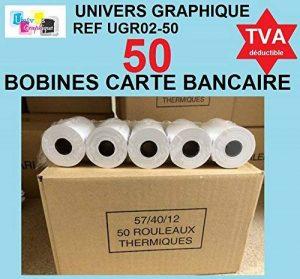 50 - Bobine terminal carte bancaire papier thermique 57 x 40 x 12 m -papier thermique pour CB 57 x 40 x 12 mm - Rouleaux machine carte (TPE) papier standard - marque UNIVERS GRAPHIQUE - TVA récupérable de la marque UNIVERS GRAPHIQUE image 0 produit
