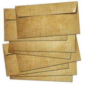 50 ENVELOPPES MAIL /DIN Long 100g/m² - convient pour A4/sans fenêtre/enveloppe autoadhésive/colorée dans un design rétro vintage en marron. de la marque Partycards image 0 produit