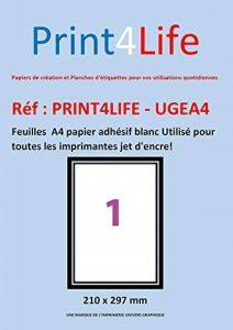 50 feuilles A4 papier adhésif blanc; Utilisé pour toutes les imprimantes jet d'encre! de la marque Print4Life image 0 produit