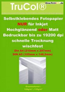 50 feuilles de format A4 Photo Paper 135g / m² adhésif brillant 19200 dpi résistant à la lumière imperméable à l'eau de la marque trucol image 0 produit