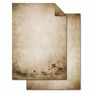 50feuilles de papier à lettre de Noël Renne sur Alt Beige Marron vieilli, imprimé des deux côtés, 100g A4le motif d'écriture d'imprimantes de de papier de copie pour lettres de Noël de la marque Logbuch-Verlag image 0 produit