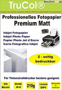 50 feuilles de papier photo jet d'encre PREMIUM MATT double-face papier photo papier 210g /m² A4 recto-verso à 9600 dpi imprimante jet d'encre spécialement enduit imperméable de la marque trucol image 0 produit