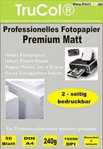 50 feuilles de papier photo jet d'encre PREMIUM MATT double-face papier photo papier 240g /m² A4 recto-verso à 9600 dpi imprimante jet d'encre spécialement enduit imperméable de la marque trucol image 0 produit