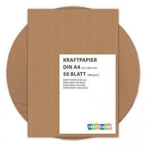 50 feuilles papier kraft - Papier Kraft DIN A4 280 g/m² Nature Carton de grande qualité Idéal pour travaux manuels, 3D Marron de la marque Partycards image 0 produit