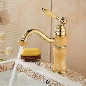 5151buyworld Top Qualité robinet copie en marbre Doré de salle de bain mitigeur avec Laiton massif Doré évier de cuisine robinet d'eau de salle de bain chaud froid Mélangeur Tapfor de salle de bain de cuisine Home Couvent de la marque 5151BuyWorld image 0 produit