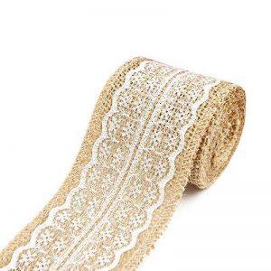 6cm X 2m en toile de jute Toile de jute Rouleau de ruban Blanc en dentelle garnitures de toile de jute ruban adhésif pour Noël Mariage Maison Décoration de fête de la marque Tong Yue image 0 produit