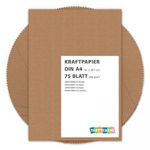 75 Feuilles Papier Kraft DIN A4 280 g/m² Nature Carton de grande qualité Idéal pour travaux manuels marron mariage cartes invitation de la marque Partycards image 0 produit