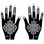 8 Feuille Mehndi Tatouage Pochoir pour la main Mehndi Tatouages au henné - à usage unique - pour tatouage au henné, tatouage paillettes et aérographe tatouage de la marque image 1 produit