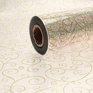 90 Mètres x 80cm Parchemin Design Torsadé Impression - Dorés sur transparent Cellophane Cadeau De Film Rouleau de la marque Gemsupplies image 0 produit