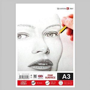 A3160g/m² de croquis Ivoire clair Dessin Artiste papier gommé Book–30feuilles–60pages de la marque Quantum Art image 0 produit