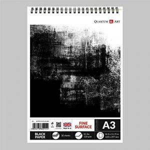 A3Dessin de papier Noir Sketch Artist Bloc de papier sur spirale livre 120Gsm- 30feuilles de la marque Quantum Art image 0 produit