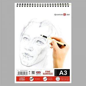 A3Dessin ou croquis de l Ivoire Artiste papier sur spirale livre -50Feuilles–100pages de la marque Quantum Art image 0 produit