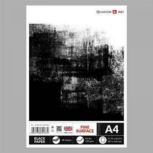 A4papier Noir dessin Sketch Artist Bloc de papier gommé livre 120g/m²–30feuilles de la marque Quantum Art image 0 produit