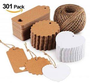 Absofine Lot de 300étiquettes en papier kraft pour cadeau avec rouleau de ficelle en jute de 60m 300pcs de la marque Absofine image 0 produit
