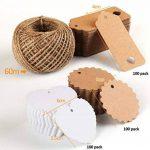 Absofine Lot de 300étiquettes en papier kraft pour cadeau avec rouleau de ficelle en jute de 60m 300pcs de la marque Absofine image 1 produit