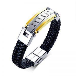 Aienid Bijoux Titane Noir Argent Bracelets Pour Hommes Cercle Vacances Bracelets Dimensions:22.5X1.55CM Poids:50G de la marque Aienid image 0 produit