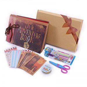 Album Photo DIY, Pootack Scrapbook (19x30cm, 80 pages, 40 feuilles) avec un ensemble de stylo couleur, un ciseaux, une bande de dentelle décorative, des autocollants - Cadeau pour un souvenir d'amour, amis, famille, enfants de la marque POOTACK image 0 produit