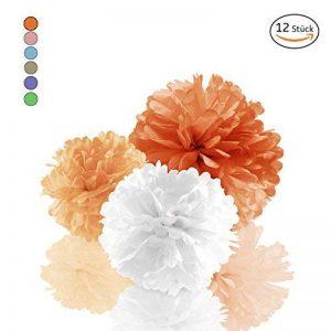 Amazy Pompons en papier de soie (Lot de 12) – Superbes fleurs en papier de soie à suspendre (Orange) de la marque Amazy image 0 produit