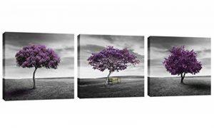 Amosi Art–3panneaux Violet Arbre Photo Impression Paysage Peinture sur toile giclée tendue et encadrés Art mural pour Home Decor, Toile, violet, 30x30cmx3pcs de la marque Amosi Art image 0 produit