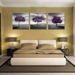 Amosi Art–3panneaux Violet Arbre Photo Impression Paysage Peinture sur toile giclée tendue et encadrés Art mural pour Home Decor, Toile, violet, 30x30cmx3pcs de la marque Amosi Art image 3 produit