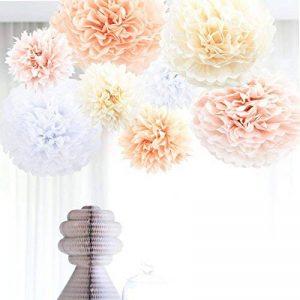 Anokay Set 8 Pompons Couleur de Blanc, Rose, Abricot, Champagne, Fleur en Papier de Soie pour Décoration de fête, anniversaire, mariage, Noël (8 set ) de la marque Anokay image 0 produit