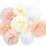 Anokay Set 8 Pompons Couleur de Blanc, Rose, Abricot, Champagne, Fleur en Papier de Soie pour Décoration de fête, anniversaire, mariage, Noël (8 set ) de la marque Anokay image 4 produit