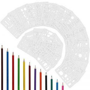 Anpro 24 pcs Pochoirs Blancs Nombreux Jolis Motifs Divers ,Chiffre, Lettre, Dessins,Alphabet ,Formes Géométriques ,12pcs Crayons de Couleurs Differentes Pour Bullet Journal, DIY, Cartes de Vœux,œuvres d'art, Scrapbooking ect de la marque Anpro image 0 produit