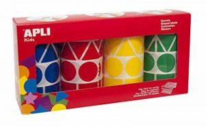 APLI-AGIPA 23360 Gommette géante 4 coloris assortis bleu rouge jaune vert pack 4 rouleaux 1357 pièces de la marque Apli image 0 produit