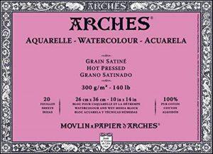 Arches Aquarelle Bloc 20 Feuilles 300 g Grain Satiné 26 x 36 cm Blanc Naturel de la marque Arches image 0 produit