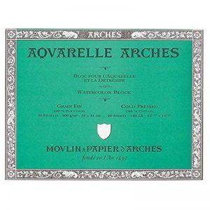 Arches Aquarelle Bloc 20 Feuilles 300g/m² Grain Fin 31 x 41 cm Blanc Naturel de la marque Arches image 0 produit
