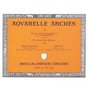Arches Aquarelle Bloc Collé 4 Côtés Grain Torchon 20 Feuilles 300g 31 x 41 cm Blanc Naturel de la marque Arches image 0 produit