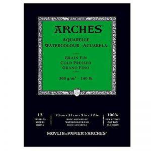 Arches Aquarelle Grain Fin Bloc Collé Petit Côté 12 Feuilles 300g 23 x 31 cm Blanc Naturel de la marque Arches image 0 produit