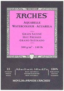 Arches Bloc 12 Feuilles Aquarelle Grain Satiné Blanc Naturel 300G A5 de la marque Arches image 0 produit