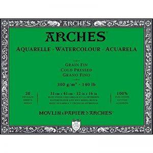 Arches Bloc aquarelle grain fin 31 x 41 cm 300 g 20 pages Naturel Blanc de la marque Arches image 0 produit
