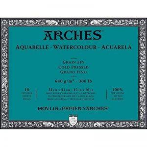 Arches Bloc Aquarelle Grain Fin 31 x 41 cm 640 g 10 Pages Naturel Blanc de la marque Arches image 0 produit