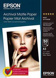 Archival Matte Paper Papier mat A3 (297 x 420 mm) 189g/m2 50 feuilles de la marque Epson image 0 produit