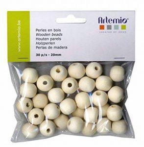Artemio 30 Perles de 20 mm en bois, Beige de la marque Artemio image 0 produit