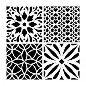 Artemio Carreau Ciment Fleurs Pochoir Home Déco, Plastique, Multicolore, 30,5 x 0,2 x 35 cm de la marque Artemio image 0 produit