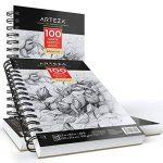 Arteza Pack 3 Carnets Croquis Artiste 13.9x 21.6cm, 300 Pages Total, Deux Blocs Esquisse à Spirale 100 Feuilles, Papier Dessin Blanc Brillant Durable, sans Acide (100g/m²), Idéal pour Enfants et Adultes de la marque ARTEZA® image 4 produit