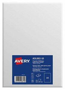 Avery 10 Etiquettes d'Affichage Format A3 (420x297mm) - Autocollant Amovible - Impression Laser, Jet d'Encre - Papier Blanc Brillant (A3L002) de la marque Avery image 0 produit