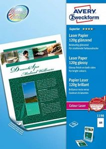 Avery - 1198-200 Feuilles de Papier Photo Supérieur Blanc Brillant 120g/m² A4 - Impression Laser de la marque Avery image 0 produit