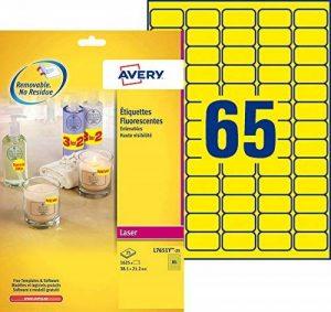 Avery 1625 Etiquettes Autocollantes Amovibles (65 par Feuille) - 38,1x21,2mm - Impression Laser - Jaune Fluo (L7651Y) de la marque Avery image 0 produit