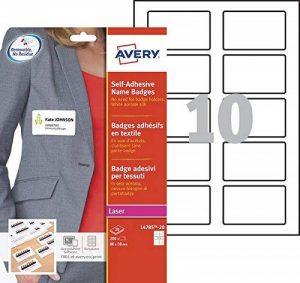 Avery 200 Badges Autocollants en Tissu - 80x50mm - Impression Laser - Blanc (L4785) de la marque Avery image 0 produit