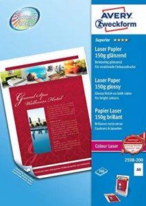 Avery 200 Feuilles de Papier Premium 150g/m² - A4 - Impression Lase - Brillant - Blanc (2598) de la marque Avery image 0 produit