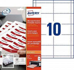 Avery 200 Inserts Badges Microperforés - 54x90mm - Impression Laser, Jet d'Encre - Blanc (L4727) de la marque Avery image 0 produit