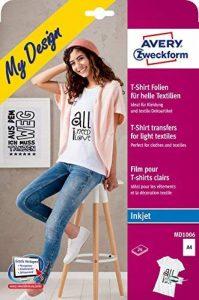 Avery 24 Feuilles de Papiers Transferts T Shirt/Textile Blancs ou Clairs - A4 - Jet d'Encre (MD1006) de la marque Avery image 0 produit