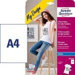 Avery 24 Feuilles de Papiers Transferts T Shirt/Textile Blancs ou Clairs - A4 - Jet d'Encre (MD1006) de la marque Avery image 1 produit