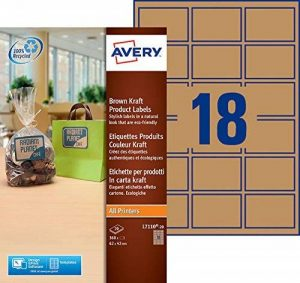 Avery 360 Etiquettes Autocollantes Couleur Kraft (18 par Feuille) - 62x42mm - Impression Laser, Jet d'Encre (L7110) de la marque Avery image 0 produit