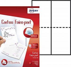Avery 50 Cartes Faire-Part - A6 - Impression Jet d'Encre - Mat - Blanc (C2361) de la marque Avery image 0 produit